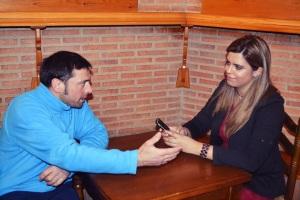 Entrevistando a Jose Antonio Rico Ovejero, en el bar Don Pancho, Tordesillas.