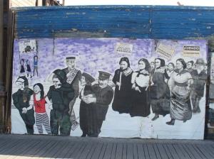 Mural que hace alusión a la violencia machista